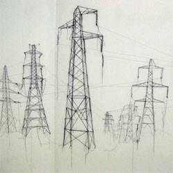 I love Debbie Smyth's series titled 'Pins and Threads' - drawings of electrical pylons made with thread and pins. I like how the lines are continuous giving you insight into the construction of the drawing.