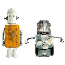 Meet the Nerdbots, little creatures made out of old appliance parts. I love and want them.