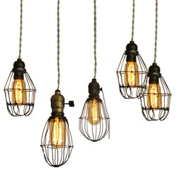 Gorgeous refurbished 20th century industrial cage lights - someone needs to start reproducing these!