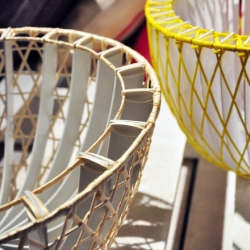 A beautiful bowl made of woven wood fibers, designed by Scholten and Baijings.