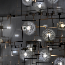 Interesting mix of nature and technology, the Fragile Future light uses real dandelion heads.