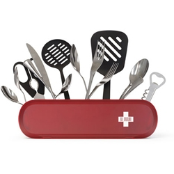 Swissarmius is a cutlery holder that is simple and beautiful, useful and functional, like the real Swiss Army knife.
