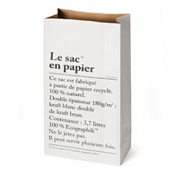 Paper bag from be-poles (also tape and books in the same concept). Can be used as a paper recycling basket. be-poles is a great graphic agency in Paris, they're behind the visual ID of MERCI and other edgy brands.