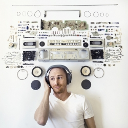 Exploded speaker portrait by Maddy Lucas photography.