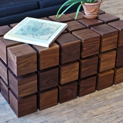 Float Coffee Table by RockPaperRobot, matrix of 'magnetized' wooden cubes that levitate with respect to one another.
