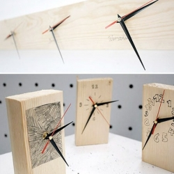 Studio GOGO is making logs of pinewood with clocks so you can cut away as many as you need.