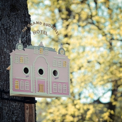 Tiny Grand Budapest Hotel for birds by Clinic 212.