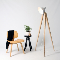 Tall Fellow Lamp by Y.S Collective. Big Brother to the original Fellow Lamp, Tall Fellow is a floor standing lounge lamp with personality. Standing at 1.5 meters in hand turned Ash wood and white hand spun aluminium.