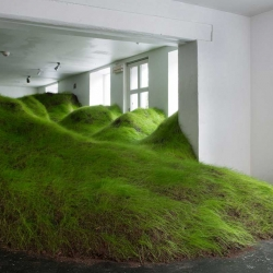 Norway-based artist Per Kristian Nygård filled the exhibition space of NoPlace Gallery in Oslo with hilly rolling landscape of grassy mounds.