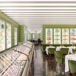 Prada opens its first pastry shop with Pasticceria Marchesi on the luxury street Via Montenapoleone in the heart of Milan