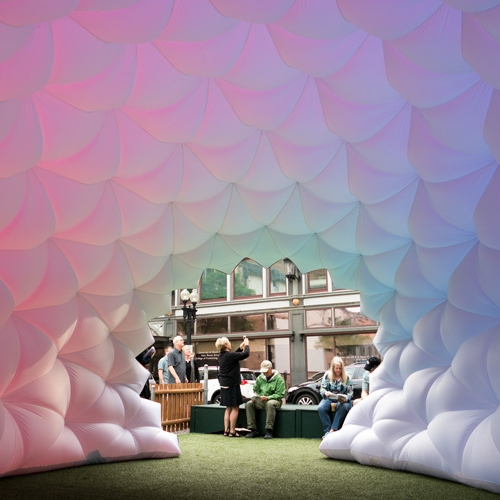 Pneuhaus, 'Fabric Prism' is an inflatable immersive color installation built around the fundamental properties of light and color.