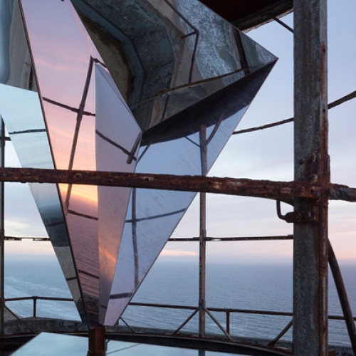 Bessards' Studio and JAJA Architects installed a gigantic wind-powered kaleidoscope into a 116-year-old lighthouse on the northwestern coast of Denmark.