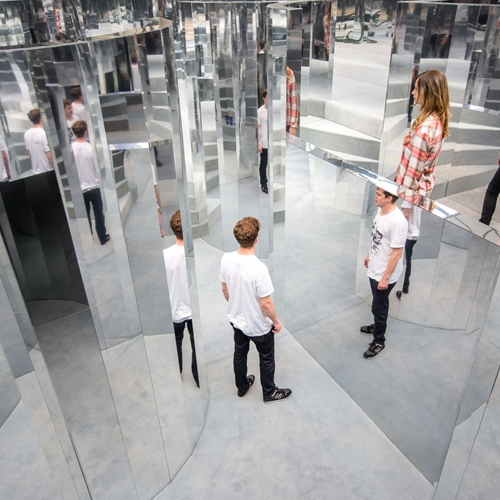Mirror Maze is a multi-room installation built by British stage designer Es Devlininside a former warehouse in Peckham,Southeast London, which is perfumed with an exclusive Chanelscent.