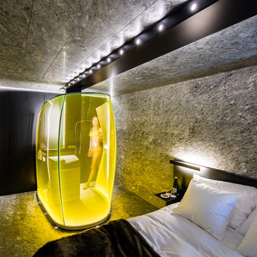 Morphosis designed new guest suites — the wood rooms and the stone rooms, for the House of Architects at 7132 Hotel in Vals, Switzerland, re-examining the definition of luxury.