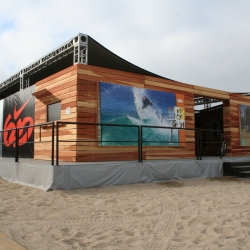 Nike 6.0 exhibit on the sand showcasing the history of the brand at the Hurley US Open of Surfing in Huntington Beach.