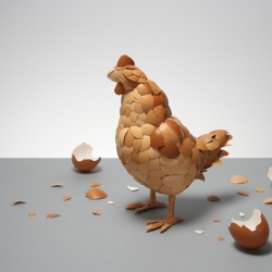 """What Came First"" A sculpture made from eggshells. New personal project by Kyle Bean."