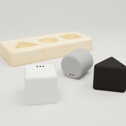 This unique pepper and salt shaker '304' was inspired by the shape matching toy and it creates a pleasant way to tidy up the table. Even your child will enjoy that.
