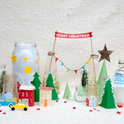 Sleek, printable holiday village designed by Jonathan Faucett.
