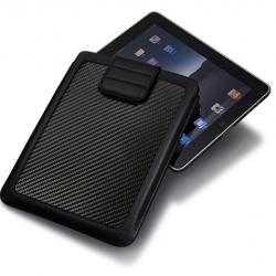 Ion CarbonJacket Carbon Fiber and Leather iPad Sleeve - Gorgeous sleeve for the iPad made with real carbon fiber and premium grade black sheep leather.