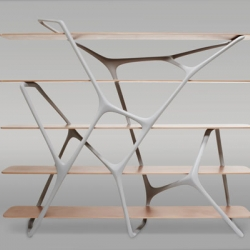This shelf by french designer Noé Duchaufour-Lawrance takes its inspiration from basic structures found in nature. From the cell to the star and planetary systems, the universe is formed of elements in networks.