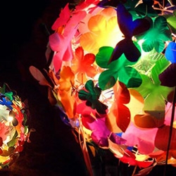 Heath Nash recycles trash into beautiful things like this flower lamp shade