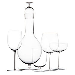 I'm loving Polka's Josephine Glasscarafe with a drinking glass. I love that the carafe has a stem and is shaped like a glass, and that the stopper is the drinking glass itself.