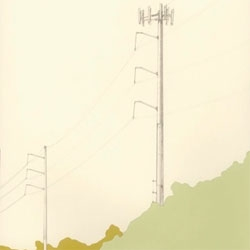Rebecca Rothfus draws utility landscapes. The quietness of the line drawings and the muted colors are very nice!