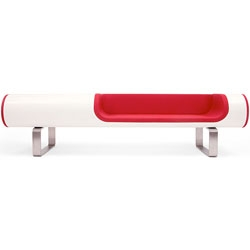 Brodie Neill's Skl Lounge - a gorgeous, low riding white lounge with a red interior.