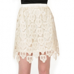 Give your girly side a serious edge in this amazing ivory crochet skull skirt from Nasty Gal.