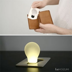 Hyun Jin Yoon and Eun Hak Lee created the Back Light Unit to allow you to carry a little mood lighting with you at all times. It fits in your wallet and is turned on by flipping the bulb portion into the upright position.