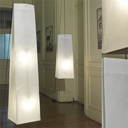 Celine Wright's Lampe O's look like suspended paper bags.