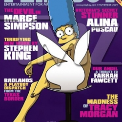 Marge Simpson covers the November 2009 special collector's edition of Playboy Magazine, marking the first time a cartoon character has done so.
