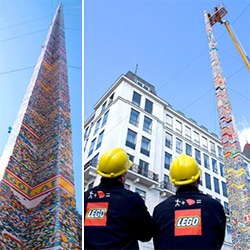 Vienna beat the Guinness Book of Records for the tallest Lego tower in history, 96.7 feet tall. The tower was constructed by hundreds of children outside Vienna's city hall. I like the Lego construction gear.