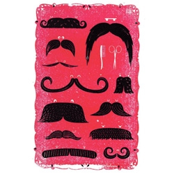 "Peskimo's Moustaches print for their new show ""Even Dwarves Started Small"" at a gallery in Bristol."