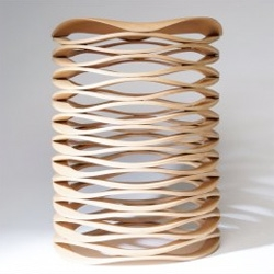 Chris Ruhe's Sahara Stool, a flexible, wood stool.