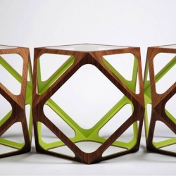"""""""Kubo"""" by danish designer Rasmus Fenhann. A small polyedra wooden table show by Danish Crafts."""