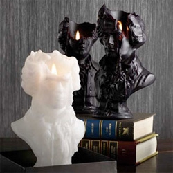 Mortimer Bust Candle by Thomas Grünfeld - love this sculpted candle of a bust. It would be perfect on top of a fireplace mantel.