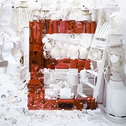 Love this typographic piece, LetterE, by Dan Tobin Smith - made out of a collection of red and white objects.