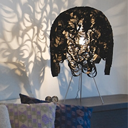 Christopher LaBrooy's Marble Lamp - with a gathered synthetic felt shade that creates gorgeous shadows!