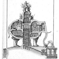 Love this amazing section through an elephant shaped structure. It was drawn by Charles-François Ribart in 1758.