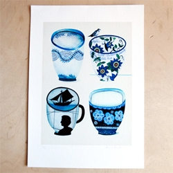 Anne Smith went from making ceramic cups to painting cups. This is a new print featuring Four Cups from her 100 Cups series.