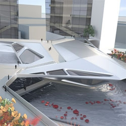 Emergent Architecture's Emerald Plaza addresses Abu Dhabi's hot climate through a network of canopies that offer shade to the walkways below. Pools also help cool the space.