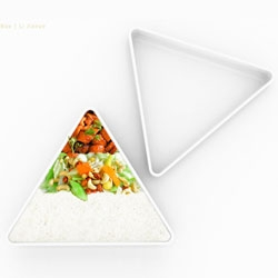 Li Jianye's Nutrition Pyramid Lunch Box allows you to align your diet with the food pyramid.