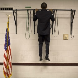 Callie Shell has had the opportunity to photograph Obama throughout his bid for president and has compiled a great set of photographs, including this one of him doing pull-ups before making a speech.
