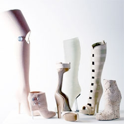 Gwendolyn Huskens' super awesome Medic Esthetic footwear - inspired by and made out of medical supplies such as synthetic plaster, bandages, stainless steel and band-aids.