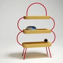 """Bow"" by french design Caroline Ziegler for Gallery Coming Soon - Paris. A light shelf made of steel structure and cork shelves."