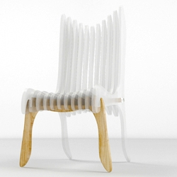 Oil Monkey is the creators of this very strange futuristic chair, that is a combination of transparent plastic and wood.