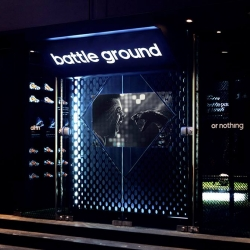 "This Adidas pop-up store named ""Battle Ground"" is designed for 2014 FIFA World Cup in Brazil."