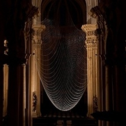"""The Upside Dome"" by Gijs Van Vaerenbergh in St Michel Church In Leuven - Belgium. An installation made of hanging chains symbolizing the missing dome of this baroc edifice."