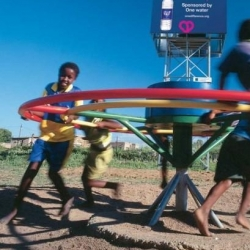 The Playpump, a playground merry-go-round that uses the boundless energy of children to pump water out of the ground. More than 1000 such pumps have been installed in schools in South Africa, Mozambique, Swaziland and Zambia.